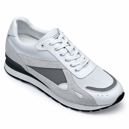 CHAMARIPA height increasing sneakers - men's mesh/suede/leather sneakers - white/gray - 7 CM / 2.76 inches taller