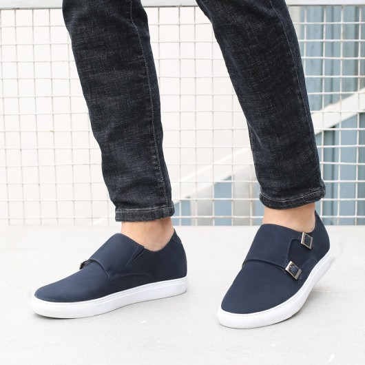 CHAMARIPA elevator shoes for men casual height increase shoes men's blue nubuck monkstraps sneakers 6CM / 2.36 inches taller