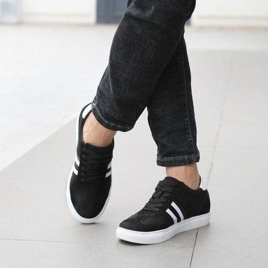 CHAMARIPA extra heightening shoes for men casual elevate sneakers black canvas sneakers 6CM/2.36 inches taller