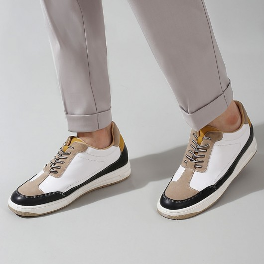 CHAMARIPA elevator sneakers for men - casual tall men shoes - white/khaki Leather Sneakers - 6 CM / 2.36 inches taller
