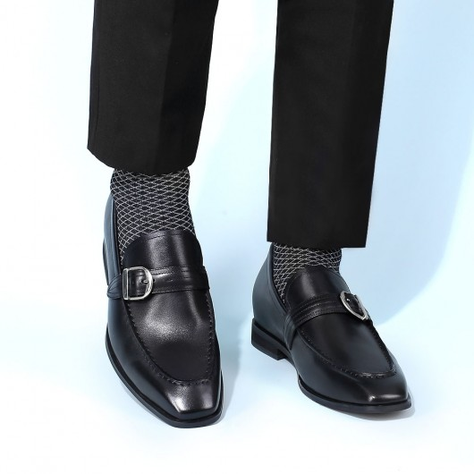 CHAMARIPA dress elevator shoes men taller shoes black leather loafer shoes for men 6CM/2.36 inches taller