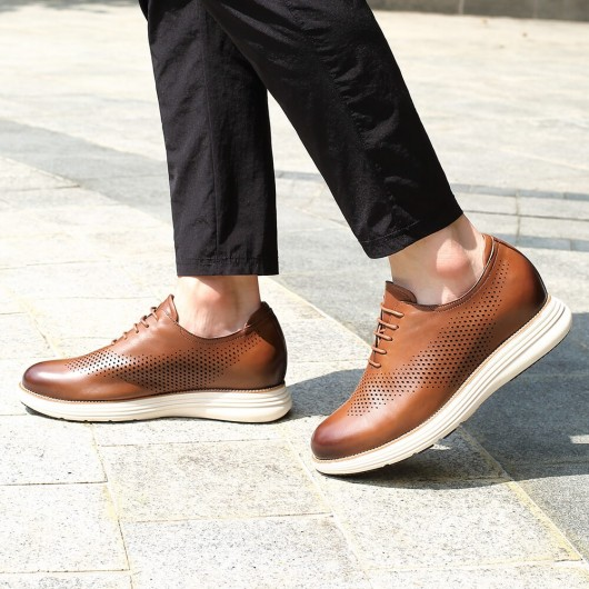 CHAMARIPA elevator shoes height increasing shoes for men brown leather casual sneaker shoes 7CM / 2.76 inches taller