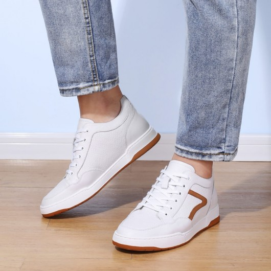 CHAMARIPA casual height increasing elevator shoes for men white leather sneaker 5CM / 1.95 inches taller