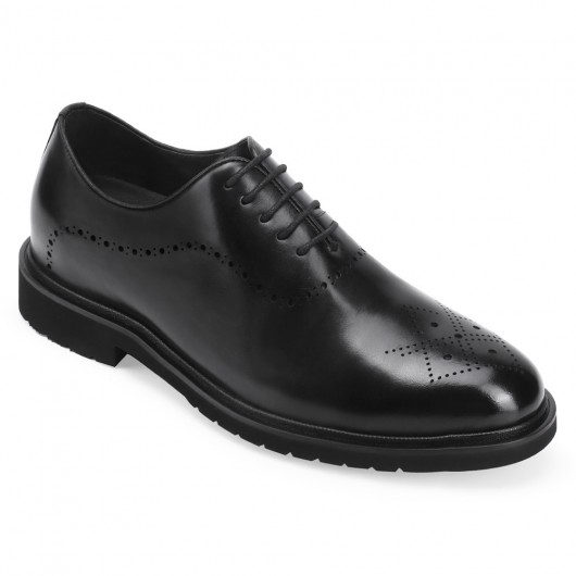 CHAMARIPA dress elevator shoes for men black leather formal shoes that add height 7CM / 2.76 inches taller