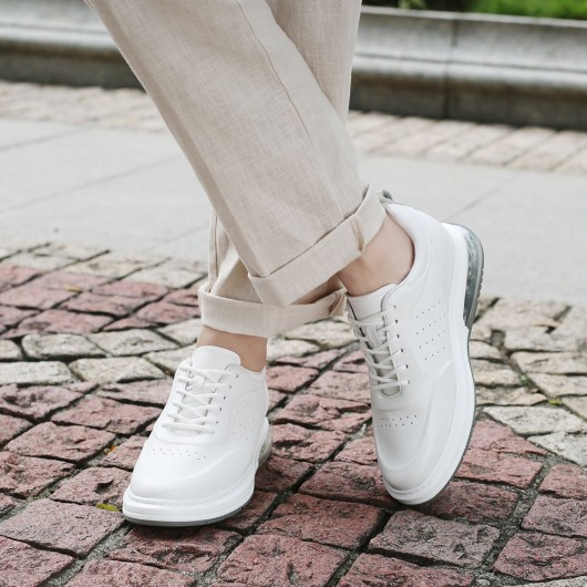 CHAMARIPA height raising shoes for men casual elevator shoes white leather elevator sneaker 7CM / 2.76 inches taller