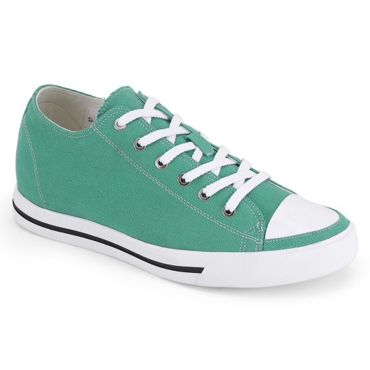 Chamaripa Height Increasing Sneakers Green Canvas Elevator Shoes 6 CM / 2.36 Inches