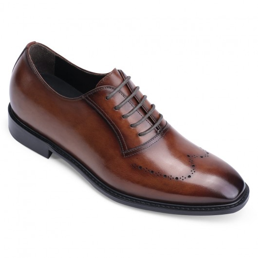 CHAMARIPA height increasing formal shoes - hand painted leather oxfords men - brown - 7CM/2.76inches taller