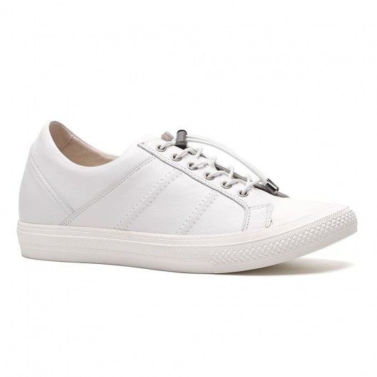 Casual High Platform Shoes Men Elevator Shoes Mens Shoes with Heels Height White 6 CM/2.36 Inches