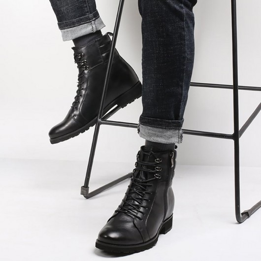 black tall men boots mens leather motorcycle boot height increase boots 8 CM /3.15 Inches