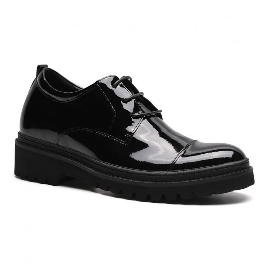 Chamaripa formal elevator shoes black height increase dress shoes patent leather extra height shoes 9 CM / 3.54 Inches