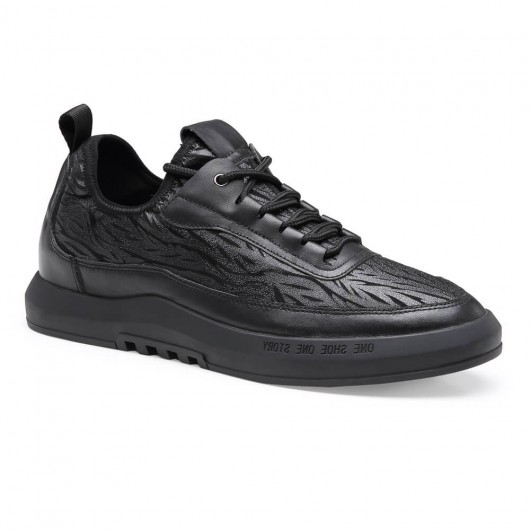 Chamaripa shoes that increase height black casual tall men shoes hidden heel shoes for men 6 CM/ 2.36 Inches