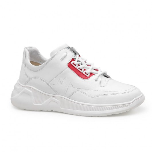 Chamaripa elevator sneakers hidden heel sneakers casual height increasing shoes for men white red 7 CM / 2.76 Inches