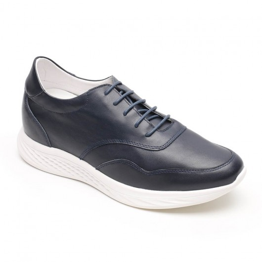 Chamaripa blue leather elevator sneakers casual sneakers that add height 7 CM / 2.76 Inches