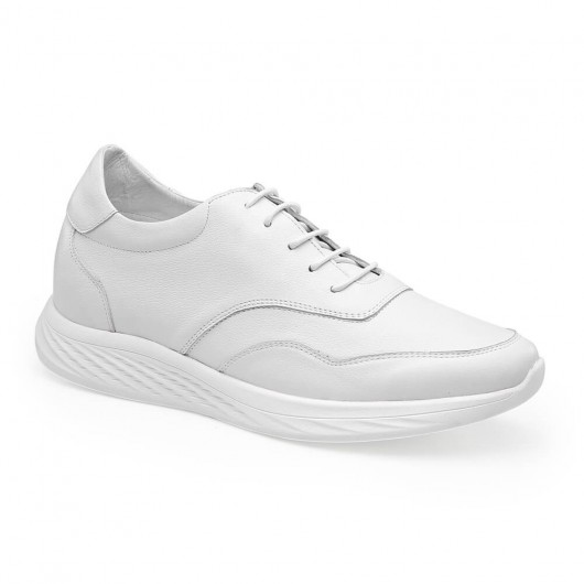 Chamaripa hidden heel sneakers white leather shoes that increase height men taller shoes 7 CM / 2.76 Inches