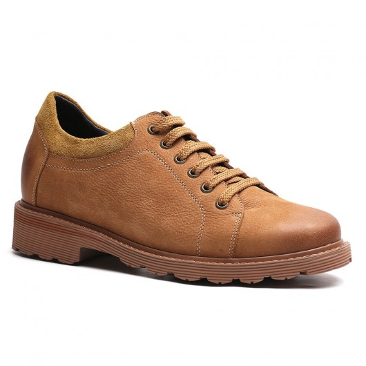 Chamaripa Casual Elevator Shoes Brown Men Taller Shoes Lace-up Oxfords 7 CM / 2.76 Inches