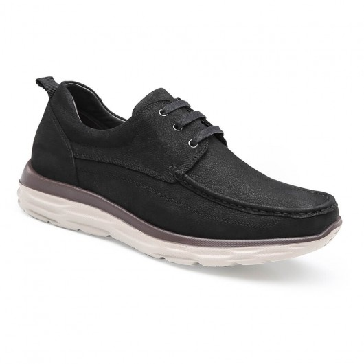 Chamaripa casual tall men shoes black leather height increasing walking shoes 6 CM / 2.36 Inches