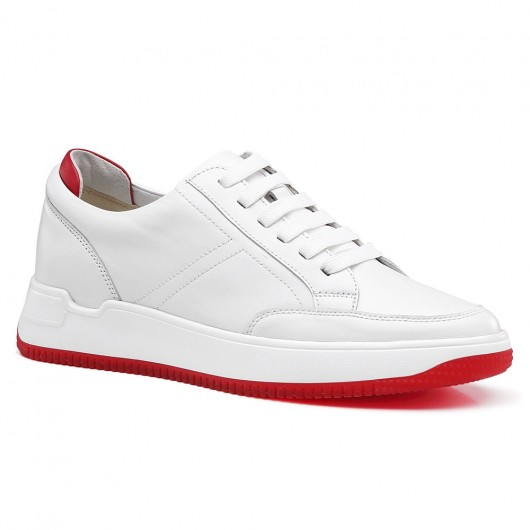 Chamaripa hidden heel shoes for men white height increase casual shoes 7CM /2.76 Inches