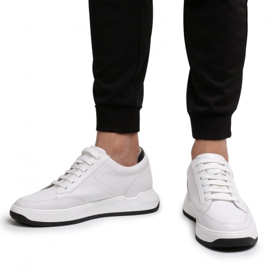 Chamaripa elevator sneakers for men white leather hidden heel shoes 7CM /2.76 Inches