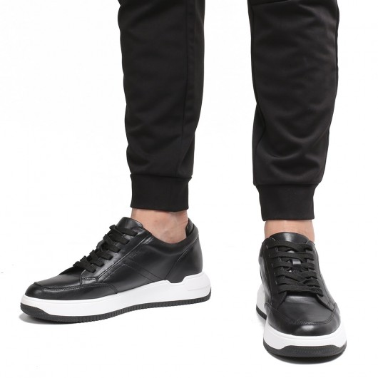 Chamaripa elevator sneakers for men black leather hidden heel shoes 7CM /2.76 Inches