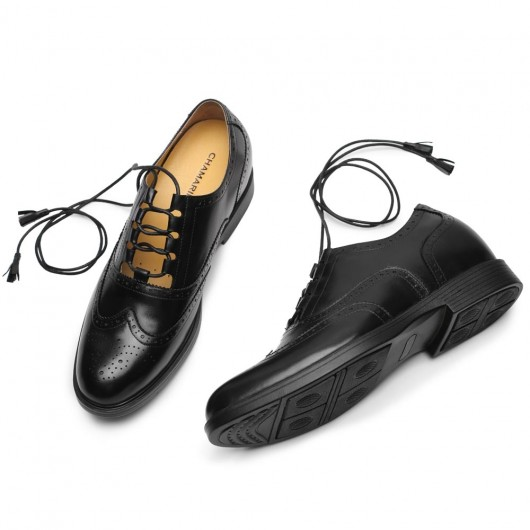 CHAMARIPA men's elevator brogues men dress increasing shoes black leather full brogue ghillie shoes 8CM/3.15 Inches