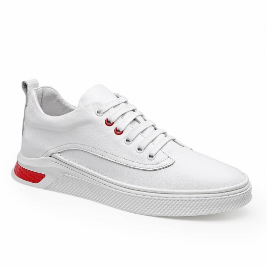 CHAMARIPA elevator sneakers for men hidden heel casual shoes men white calfskin leather 6CM / 2.36 Inches