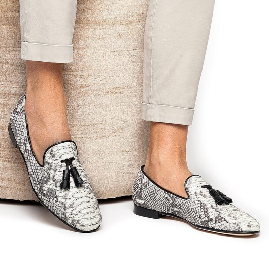 Chamaripa Height Increasing Shoes Grey Snake Pattern Leather Loafers Tassel Embellished Elevator Shoes 6CM/2.36 Inches