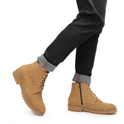 Chamaripa Height Increasing Boots Yellow Suede Leather Boots that Add Height 7 CM / 2.76 Inches