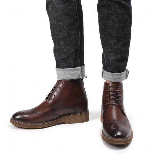 Chamaripa Elevator Boots Height Increasing Shoes for Men Coffee Color Leather Tall Men Boots 7 CM / 2.76 Inches