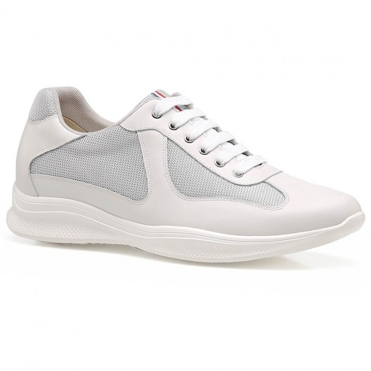 Chamaripa Elevator Sneakers Hidden Heel Shoes for Men White Leather Sneaker that Add Height 6 CM /2.36 Inches