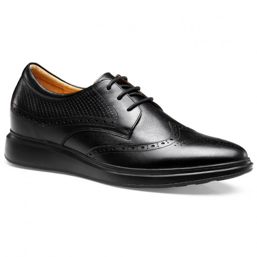 Chamaripa Formal Height Increasing Shoes High Heel Men Dress Shoes Black Brogue Shoes 7 CM /2.76 Inches