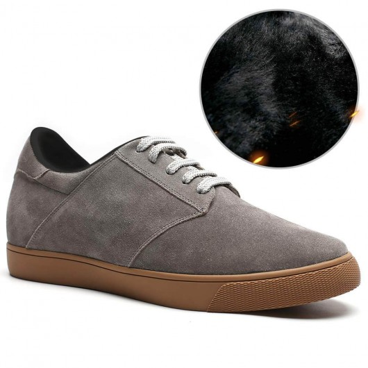 Chamaripa casual elevator shoes grey suede hidden heel shoes fur lined winter shoes 6 CM / 2.36 Inches