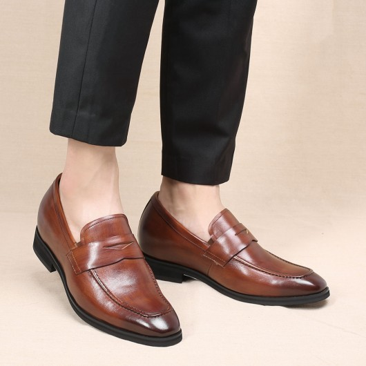 Chamaripa casual elevator shoes hidden high heel shoes for men brown classic slip-on penny loafer 7 CM / 2.76 Inches