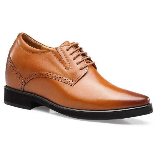 Chamaripa Height Increasing Shoes Brown Hidden Heel Shoes for Men 10 CM / 3.94 Inches