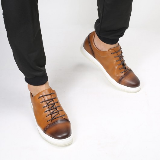 Chamaripa Height Increasing Shoes Elevator Sneaker Brown Casual Hidden Heel Sneakers 5CM / 1.95 Inches