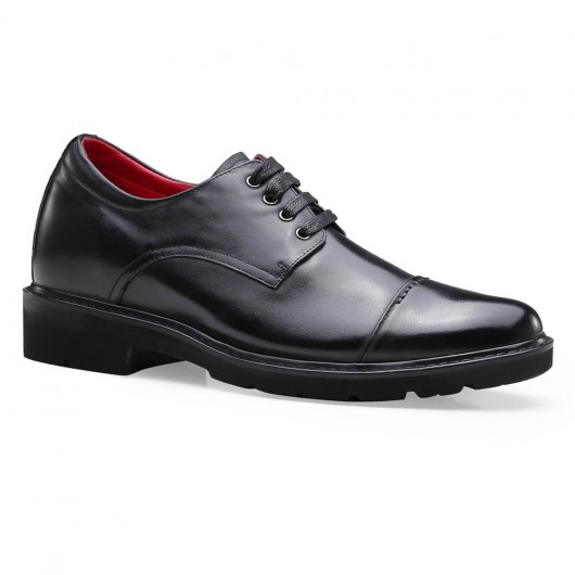 Chamaripa formal height increasing shoes high heel men dress shoes black oxfrod elevator shoes 7 CM / 2.76 Inches