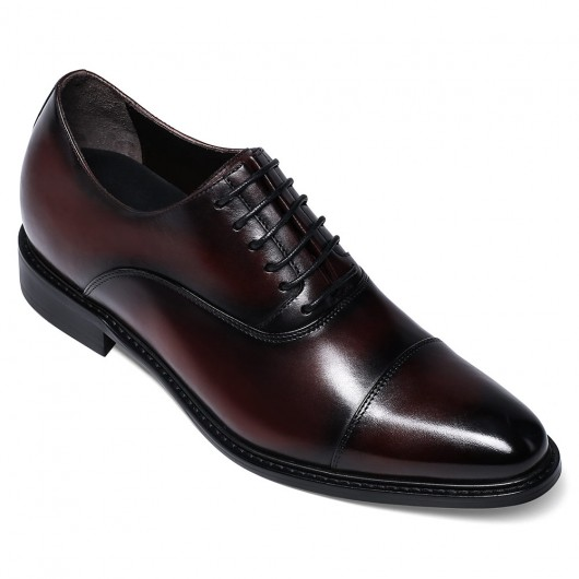 CHAMARIPA dress elevator shoes- men's leather hand painted cap toe oxfords- burgundy- 7 CM/2.76 inches taller