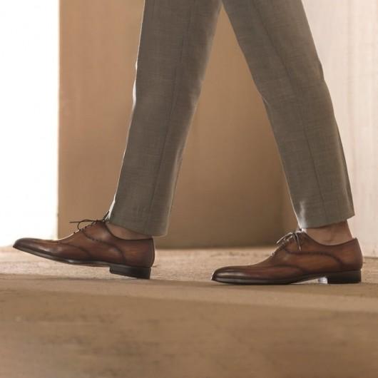 CHAMARIPA Men's Elevator Shoes Brown Wingtip Oxford High Heel Men Dress Shoes 7 CM / 2.76 Inches