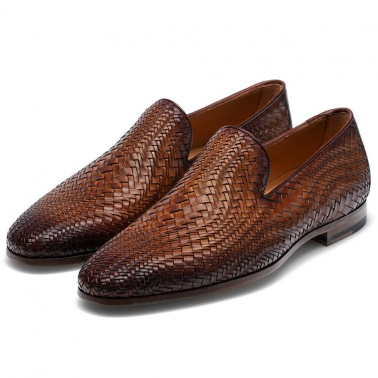 CHAMARIPA Men's Elevator Shoes High Heel Men Dress Shoes Brown Hand-woven Loafers 7CM / 2.76Inches