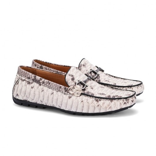 CHAMARIPA extra heightening shoes men's elevate python leather shoes white casual peas shoes 7 CM/2.76 Inches