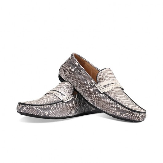 CHAMARIPA snakeskin elevate men's Loafers height raising shoes gray 7CM/2.76 Inches