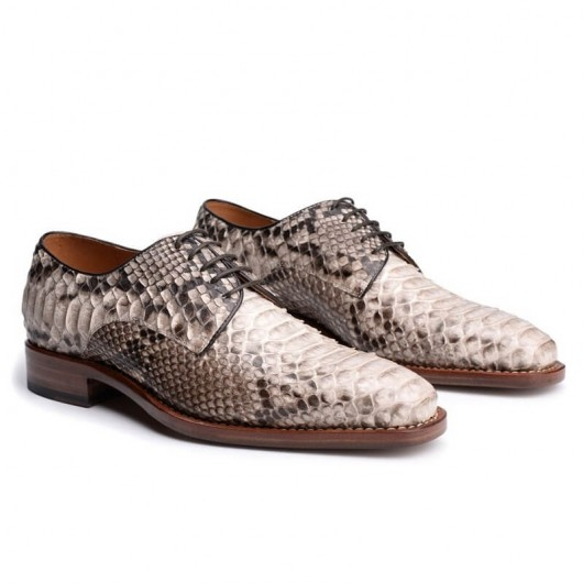 CHAMARIPA elevator shoes men's height increasing shoes white handmade python leather dress shoes 7CM/2.76 Inches