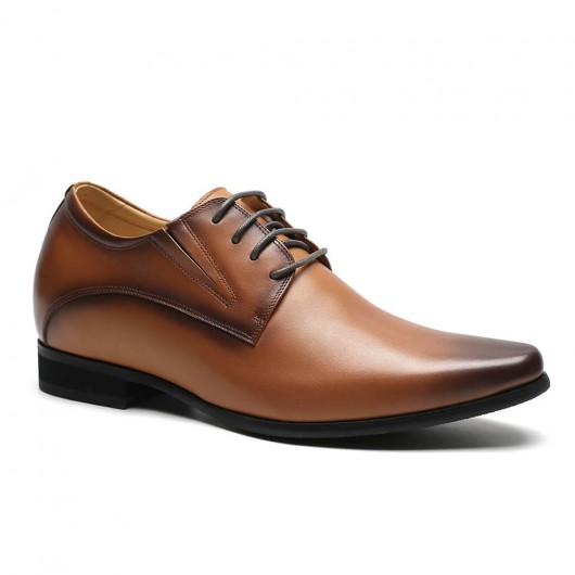 Chamaripa men's elevator shoes formal height increase dress shoes brown derby shoes 8CM / 3.15 Inches