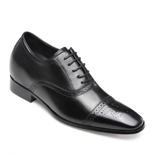 Elevator Shoes for Men Shoes to Add Height Black Calfskin Leather Dress Wedding Shoes 7CM /2.76 Inches