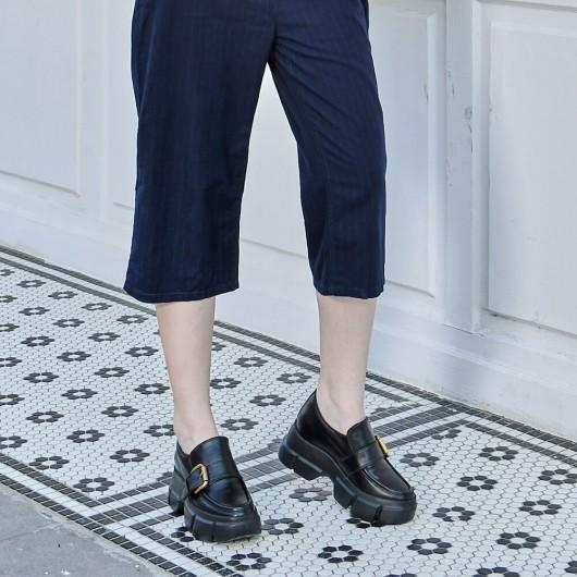 CHAMARIPA women's elevator loafers heightincreasingshoesforladies black calfskin leather 9CM / 3.54 Inches