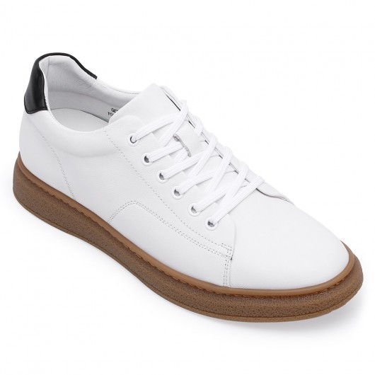 CHAMARIPA height increasing sneakers - men's full-grain leather shoes- white - 5 CM/1.95 inches taller
