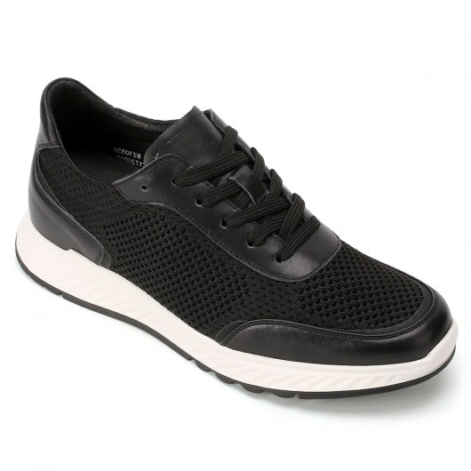 CHAMARIPA height increasing shoes elevate sneakers for men black knit sneakers men 5CM/1.95 Inches taller