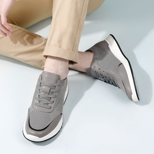 CHAMARIPA height increasing shoes elevate sneakers for men grey knit sneakers men 5CM/1.95 Inches taller