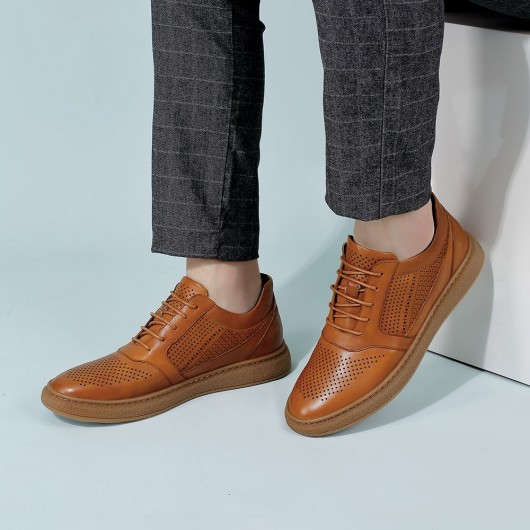 CHAMARIPA elevator sneakers shoes for short men taller shoes brown leather casual sneakers 6CM/2.36 Inches taller