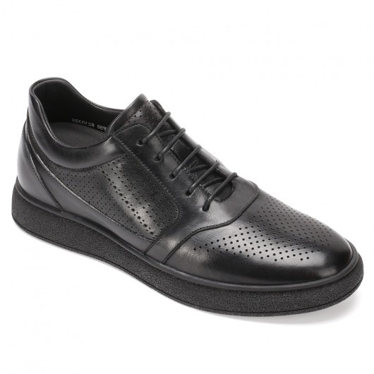 CHAMARIPA elevator sneakers shoes for short men taller shoes black leather casual sneakers 6CM/2.36 Inches taller