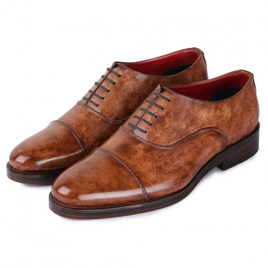 Chamaripa Business Elevator Shoes for Men - Handcrafted Leather Tall Men Shoes - Captoe Oxford - Brown 7CM / 2.76 Inches